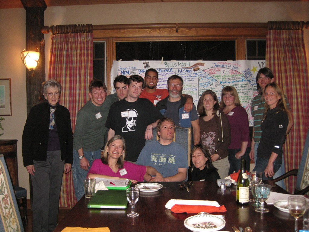 Jamie with family and friends at Bill\'s life planning meeting, January 2010