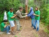 Jamie and camper doing low ropes together